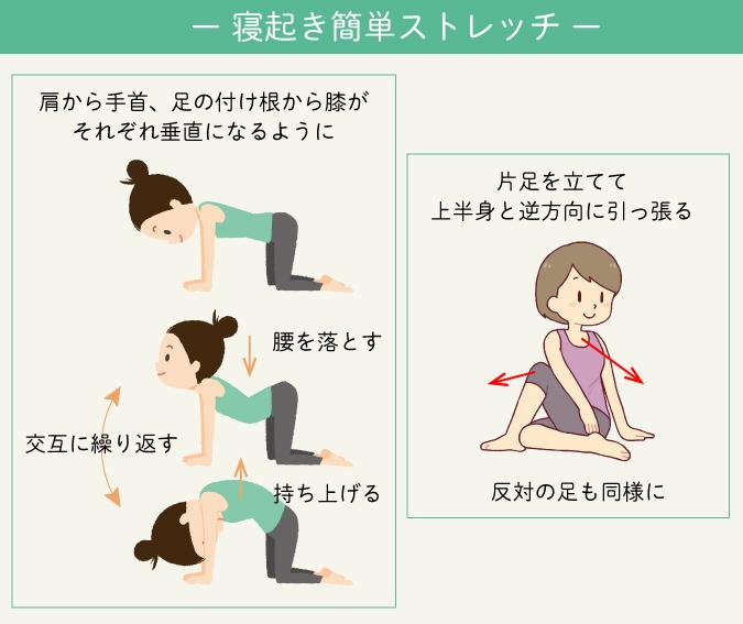 寝起き簡単ストレッチ 肩から手首足の付け根から膝がそれぞれ垂直になるように片足を立てて上半身と逆方向に引っ張る 肩こりストレッチ 運動不足解消